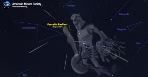 12일 밤과 13일 새벽 사이 북동쪽 하늘 페르세우스자리 복사점(Radiant)을 중심으로 페르세우스자리 유성우 현상이 나타날 것으로 전망된다. ⓒ 국제유성기구 홈페이지 캡처