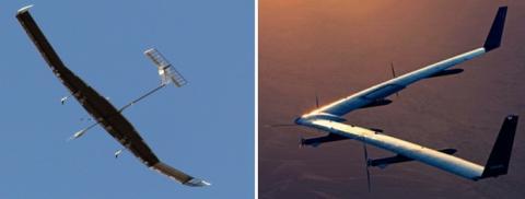 함께 창공을 날았던 태양광 드론이 상반된 운명을 맞이했다. 오른쪽이 아퀼라호다 ⓒ Airbus/Facebook