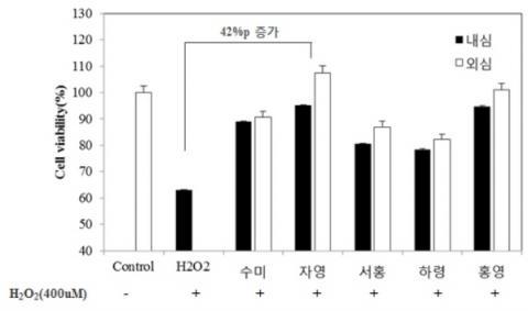 색깔감자 부위별 피부 세포 보호 효과(100ppm)