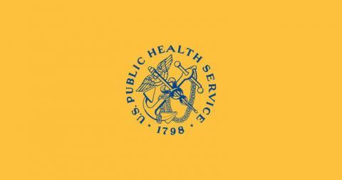 미국 공중보건국의 깃발. 로고의 닻은 항구, 날개와 뱀이 있는 지팡이는 의학을 상징하는 헤르메스의 지팡이, 노란색은 검역을 상징한다.  ⓒ 위키백과 자료.