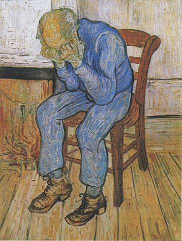 일반적인 우울증은 약물치료로 나아지나, 약물이 듣지 않는 환자들도 적지 않아 효과적인 새 치료법 개발이 요구되고 있다. 반 고흐 작 '슬퍼하는 노인'(1890년 생-레미에서 제작).  Credit: Wikimedia Commons
