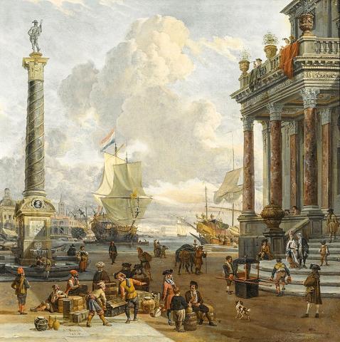 인류 사회는 수천 년 전부터 세계화를 통해 상호 소통하며 동기화되었다는 연구가 나왔다. 그림은 '상인들이 모여있는 남부 항구의 모습'(에이브러햄 스토크의 17세기 작품). Credit: Wikimedia Commons /HAMPEL Fine Art Auctions Munich