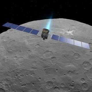 세레스 궤도를 도는 돈 상상도. ⓒ NASA/JPL-Caltech