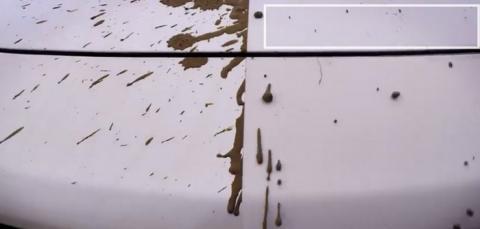 나노 기술을 적용한 차체(우)와 적용하지 않은 차체의 오염 정도 비교 ⓒ Nissan