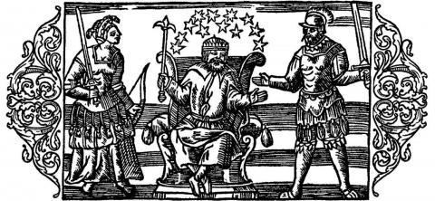 북유럽의 신들. 좌로부터 프리그, 토르, 오딘. 올라우스 마그누스 (Olaus Magnus) 그림, 16세기.  ⓒ 위키백과 자료
