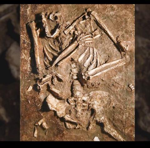1983년 북이스라엘 카르멜 산의 케바라 동굴에서 발굴될 당시의 케바라2 모습. 동영상 캡처. CREDIT: Kiyomi Taguchi, University of Washington