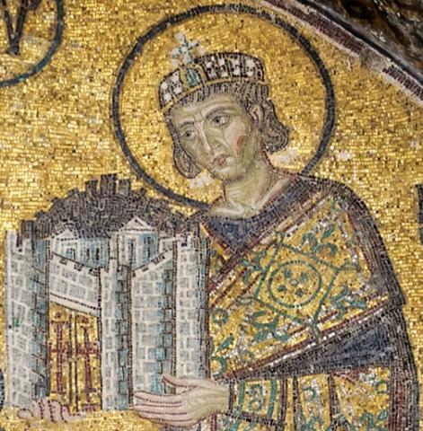 신은 세상을, 콘스탄틴 대제는 일요일을 창조했다. 하기아 소피아의 모자이크. ⓒ 위키백과 자료