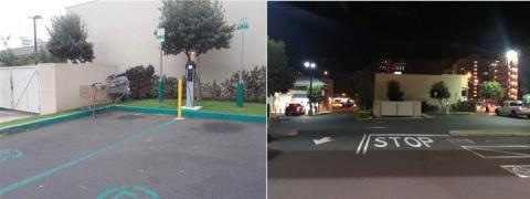 미국 하와이주 호놀룰루 시 중심에 소재한 대형 상점의 전기차 전용 주차장과 충전기 모습. 이용하는 이들이 적은 탓에 같은 장소를 낮과 밤 두 차례 찾았지만, 주차장은 모두 비어 있는 모습이었다.  ⓒ 임지연 / ScienceTimes