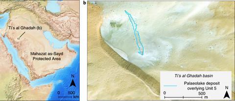 발굴지가 있는 아라비아반도 네푸드 사막 티스 알 가다 위치. ⓒ Nature Ecology & Evolution