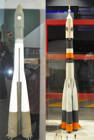 (좌) 보스토크 로켓. 시애틀항공박물관. (우) 소유즈 로켓. 제주항공우주박물관.  ⓒ 박지욱 / ScienceTimes