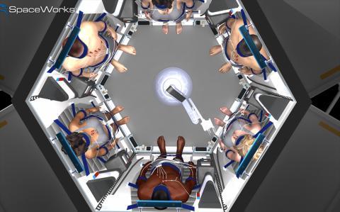 우주선 안에서 여러 명이 동면에 들어갈 수 있는 장치 상상도.  Artwork by Mark Elwood | Copyright 2014 | SpaceWorks Enterprises, Inc.