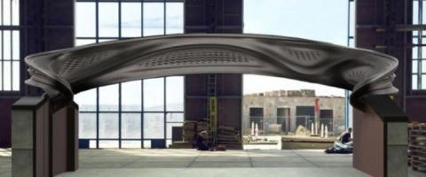 스테인리스스틸을 소재로 3D 프린팅한 강철 다리의 외관 ⓒ MX3D