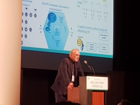 안톤 갈레노비치 DAO IPCI 설립자가 탄소저감을 위한 솔루션으로 블록체인에 대해 설명하고 있다. ⓒ 김순강 / ScienceTimes