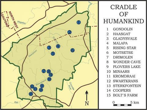 유네스코 세계문화유산으로 등재된 남아공 가우텡 지방 '인류의 요람' 지역. 중요한 동굴이 있는 곳을 점으로 표시했다.   CREDIT: Wikimedia Commons/ Chartep