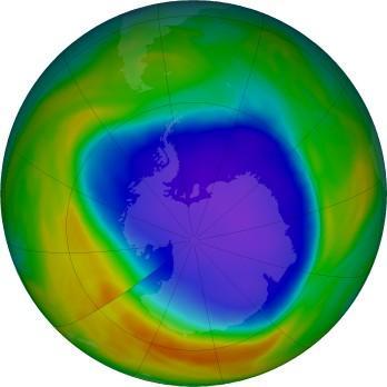10월 31일 남극 상공의 오존층에 뚫린 구멍의 크기 ⓒ NOAA