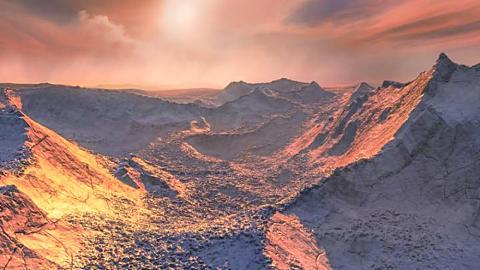 태양과 가장 가까운 항성인 바나드별 주위를 지구 질량의 3.2배 정도 되는 외계 행성이 돌고 있다는 사실이 국제 협동연구팀의 관측 결과 확인됐다. 새로 발견된 행성은 프록시마 센터우리에 이어 지구에서 두 번째로 가까운 외계행성이다. 그림은 새로 발견된 외계 행성 표면 상상도. CREDIT : ESO/M. Kornmesser