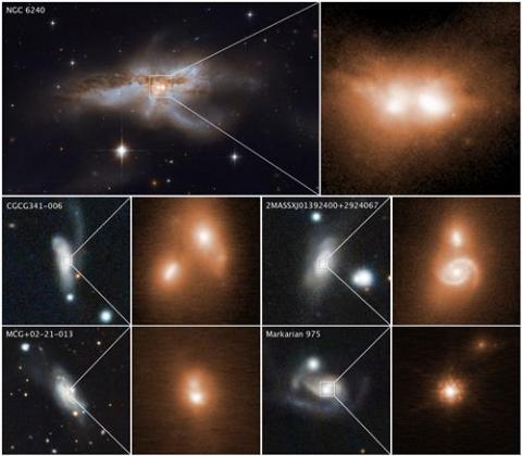 합체 직전의 블랙홀을 가진 은하들. 각 사진 오른쪽은 블랙홀 확대한 부분. ⓒ NASA, ESA, W.M.켁 천문대, M 코스