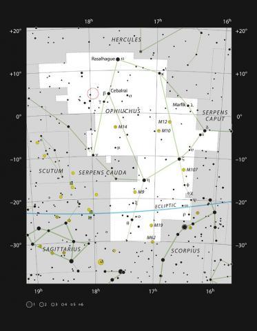 뱀주인자리(Ophiuchus)에 위치한 바나드별  Credit: ESO, IAU and Sky & Telescope