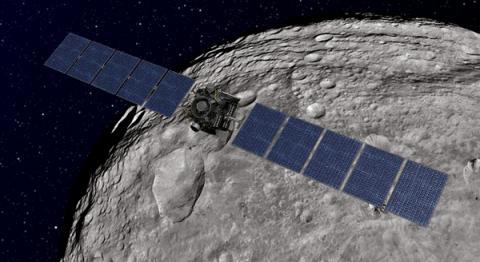 왜소행성인 세레스를 선회하고 있는 던 탐사선의 상상도  ⓒ NASA