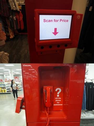 타겟(target) 매장 내부에 설치된 무인 계산기(위) 및 고객 서비스 센터 연결 전용 전화기(아래)의 모습.  ⓒ 임지연 / ScienceTimes