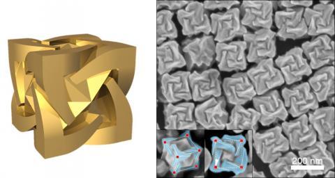 남기태 서울대 연구진이 개발한 거울상 기하 구조를 가진 금 나노 입자 모형(좌) 전자현미경 사진(우) ⓒ 서울대학교