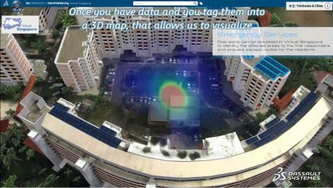 싱가포르는 디지털 트윈을 통해 스마트 시티를 구현하려하고 있다. (사진=에너지 부분을 적용했을 때를 시뮬레이션 하는 모습)