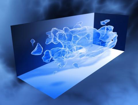 허블 우주망원경의 측정 결과에 따라 삼차원으로 재구성한 암흑물질 분포 모습.  CREDIT: Wikimedia Commons / NASA/ESA/Richard Massey