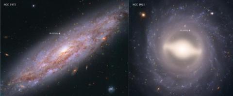 우주팽창을 연구하기 분석 중인 19개 은하 중 두 곳. 지구에서 6천500만광년 떨어진 곳에 위치한 NGC 3972(왼쪽)와 1억1천800만광년 떨어진 NGC 1015. ⓒ NASA, ESA 제공