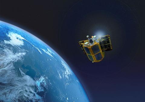 나로호에 실려 발사된 나로과학위성의 비행 상상도 ⓒ 한국항공우주연구원