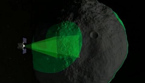 소행성 베뉴를 근접거리에서 관측하고 있는 OSIRIS-REx의 상상도