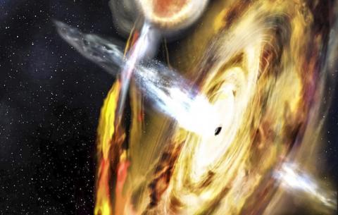 태양 질량의 10배 정도인 작은 '별 질량' 블랙홀 주위의 환경이 이번에 새롭게 밝혀지게 됨으로써 초거대질량 블랙홀에 대한 연구와 이들이 은하 형성에 미치는 영향을 연구하는데 새로운 통찰력을 얻게 됐다.  Credit: Space.com / NASA's Goddard Space Flight Center