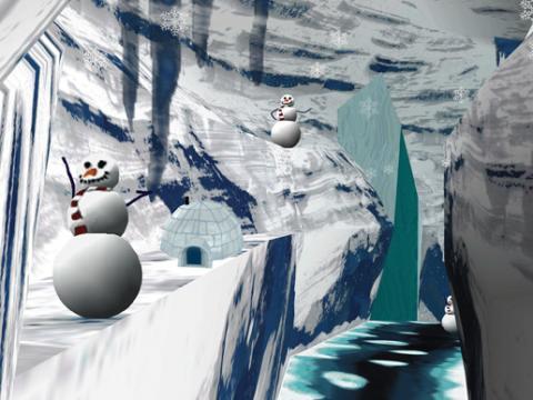 워싱턴대학교 연구진이 개발한 VR 게임 '스노우 월드'.
