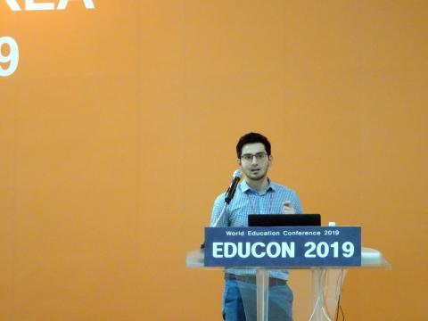 코너 오말리(Conor O'Malley) 주한미국대사관 아메리칸센터 팹 랩(Feb LAB) Fellow는 16일 서울 코엑스에서 열린 '2019 교육 콘퍼런스'에서 메이커스페이스가 차세대 인재를 교육하는 방법에 대해 공유했다.