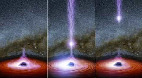 블랙홀의 코로나(희미한 보라색)가 고에너지 제트를 분출하는 모습을 그림으로 표현했다.  Credit: Space.com / NASA/JPL-Caltech