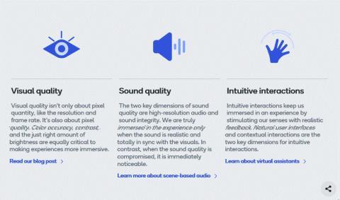 퀄퀌(Qualcomm)은 '몰입 경험'을 위해 비주얼 퀄리티(Visual quality), 사운드 퀄리티(Sound quality), 인튜티브 인터렉션(Intuitive interactions) 세 요소를 갖춰야 한다고 설명하고 있다. ⓒ Qualcomm