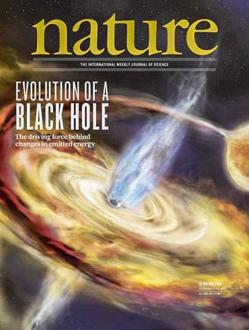연구팀은 국제우주정거장에 탑재된 NASA의 중성자별 탐색기인 NICER로 블랙홀에서 나오는 X선 에코를 매핑했다. 연구 논문이 게재된 '네이처'지 표지. CREDIT: Nature Publishing Group