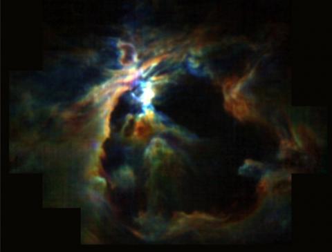 오리온 대성운의 중심부에서 형성된 성풍이 거대한 거품(중앙 검은부분)을 만들어 주변에서 별이 생성되지 못하게 하는 것으로 관측됐다. 이 성풍은 거품 바깥으로 가스 분자(검은 부분 주변의 색깔 있는 부분)를 밀어내 밀도를 높게함으로써 미래의 별 탄생 지역을 만들었다. ⓒ NASA/SOFIA/C.파브스트 제공