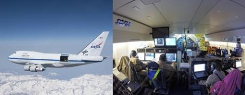 보잉 747을 개조한 '성층권 적외선 천문대(SOFIA)'. 미국항공우주국(NASA)와 독일항공우주센터(DLR)가 공동 운영하는 프로젝트로 직경 2.69m의 망원경을 장착하고 있다.