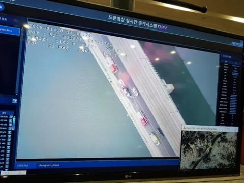 대형 교통사고 가정해 시연한 드론 영상 실시간 중계 시스템 ⓒ 연합뉴스 박주영 기자 촬영