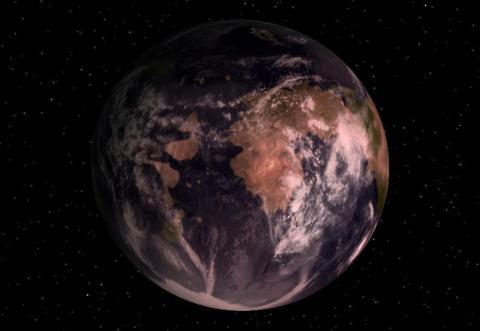 지구를 닮은 행성으로 한때 거론되었던 글리제581c의 가상적인 모습 ⓒ GNU Free