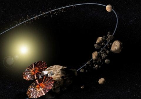 목성 궤도에 진입하는 탐사선 루시의 상상도 ⓒ NASA