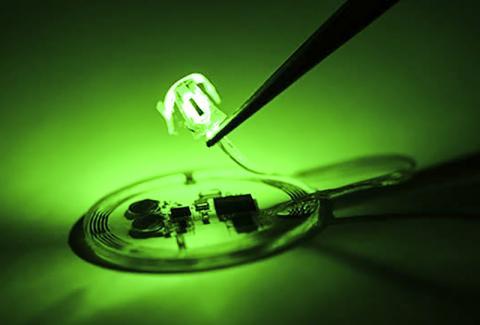이번 연구에 사용된 생체 통합 LED. Credit : Rogers Research Group