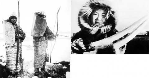 시베리아 에스키모 모습. 왼쪽은 얇은 판 갑옷을 입은 사냥꾼.  CREDIT: Wikimedia Commons