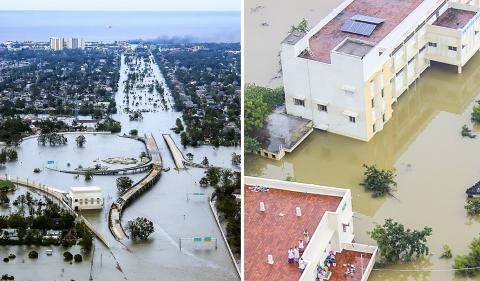 과학자들은 최근 연구에서 한 도시나 지역의 극단 강우현상이 수천㎞ 떨어진 곳에서 일어나는 폭우 현상과 연결된다는 글로벌 연결 패턴을 발견했다. 사진(왼쪽)은 2005년 8월 29일 허리케인 카트리나가 통과한 직후 물바다가 된 미국 뉴올리언즈 시가지 모습. 오른쪽은 2015년 12월 인도 첸나이 지역 홍수 모습을 인도 공군 헬리콥터에서 찍은 사진. CREDIT: Wikimedia Commons / AP Photo/U.S. Coast Guard, Petty Officer 2nd Class Kyle Niemi / Indian Air Force