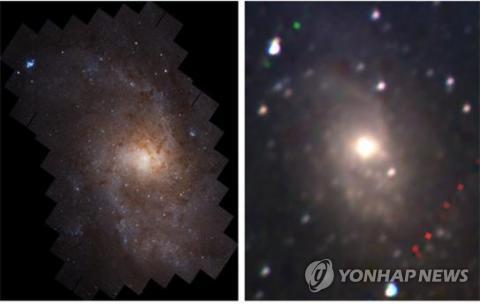 삼각형 은하에 대해 우주망원경 허블로 촬영한 영상(왼쪽)과 한국천문연구원이 개발한 근적외선 우주망원경 NISS가 찍은 영상. ⓒ NASA·한국천문연구원