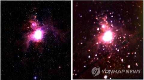 오리온성운에 대해 지상망원경 2MASS 근적외선으로 촬영한 영상(왼쪽)과 한국천문연구원이 개발한 근적외선 우주망원경 NISS가 찍은 영상.  ⓒ 미국 매사추세츠대학 및 캘리포니아공대·한국천문연구원 /연합뉴스