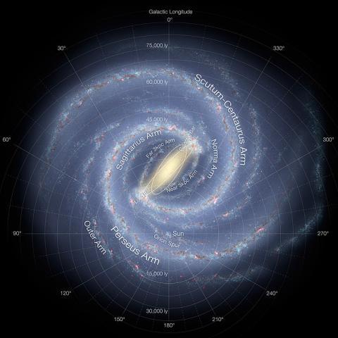 지금까지 천문학자들이 추정한 우리 은하의 상상도 ⓒ 위키피디아