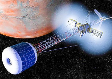 우주인을 실어나를 화성 탐사선 상상도. 인공 중력 전달 우주선을 묘사했다.  CREDIT: NASA