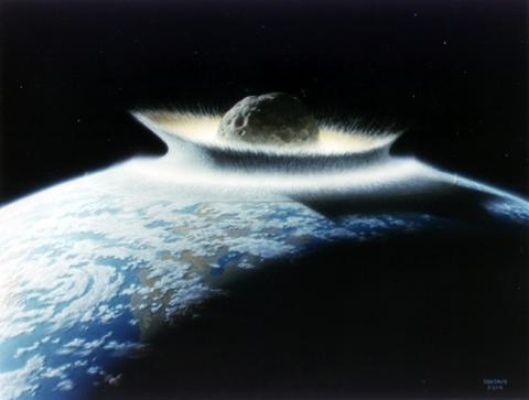 지구와 소행성의 충돌을 가상하여 그린 시뮬레이션 장면 ⓒ ⓒ GNU Free Documentation License