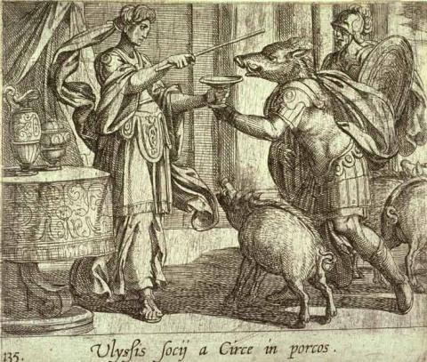 오딧세우스의 부하들을 돼지로 변하게 하는 키르케 ⓒ ScienceTimes